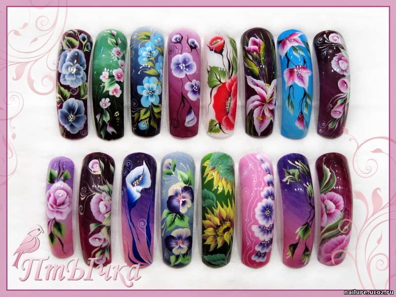 Рисунки цветов на ногтях 90 фото идей красивого оформления