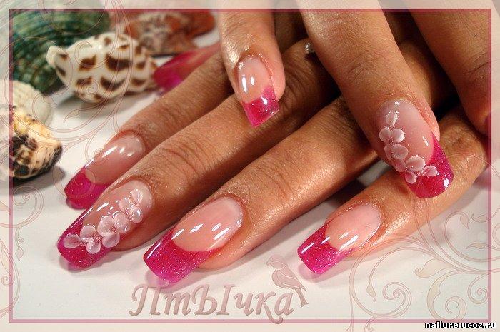 Цвет на ногтях френч